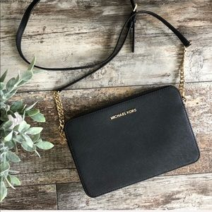 Michael Kors | Black Leather and Chain Crossbody